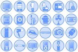 Household appliances. Round blue icons poster