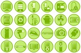 Household appliances. Round green icons poster