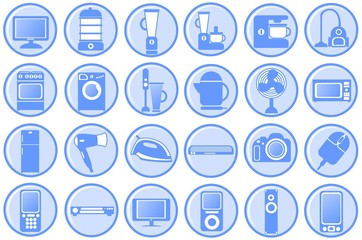 Household appliances. Round blue icons