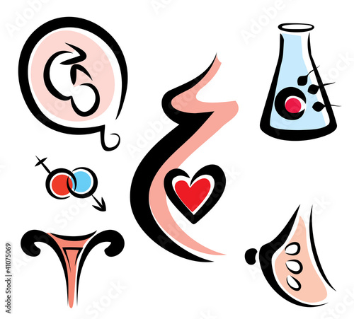 set of female and prenatal related medical icons