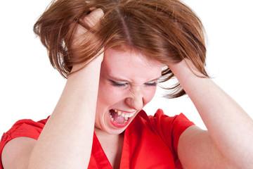 Frau rauft ihre Haare