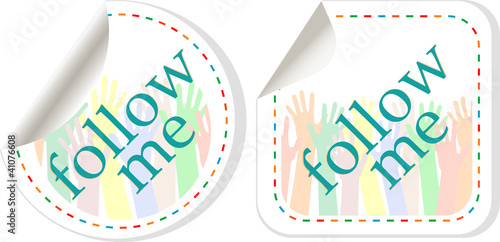 follow me stickers label set