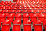 Detailed view on red seats on a football (soccer) stadium