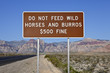 Do Not Feed The Wild Horses Sign