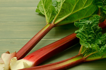 three fresh rhubarb stems