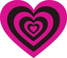 Heart Pink Black