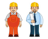 A construction worker and his supervisor poster
