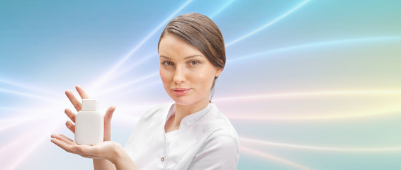 Woman doctor presenting new medicine