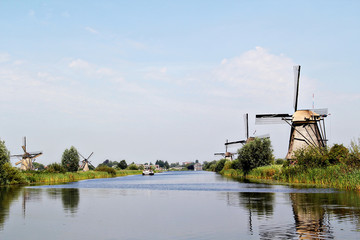 Beautiful old dutch windmills at Kinderdijk, Netherlands