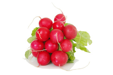 a bunch of red radish isolated on white background
