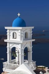 Traditional campanile at Santorini island in Greece