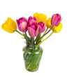 Pink and yellow  tulips bouquet