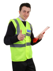 Thumbs up security guard