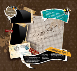 Vintage scrapbook composition with old style stickers.
