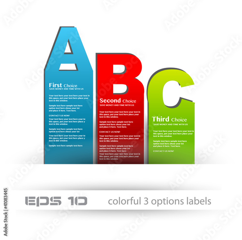 Paper style labels with 3 choices. Ideal for web usage