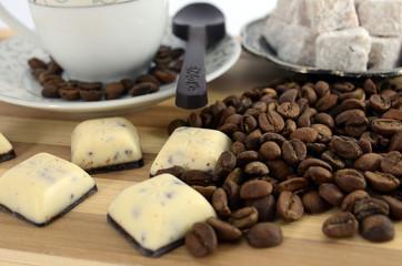turkish coffee, turkish delight, chocolate, coffee seeds