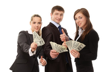 Businesspeople with dollars, showing ok