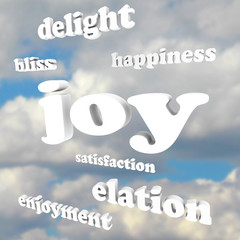 Joy Words in Cloudy Sky Satisfaction Happiness