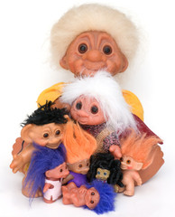 Group of trolls old to young all colors