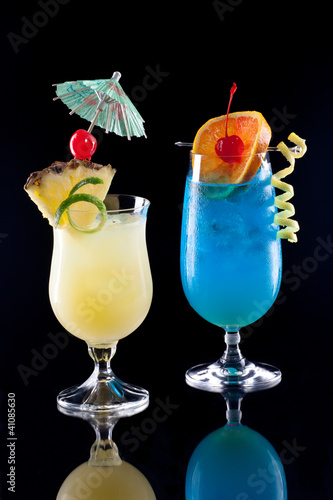 Bahama Mama and Blue Lagoon - Most popular cocktails series