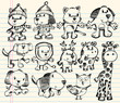 Doodle Sketch Animal Vector Set