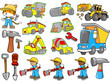 Cute Construction Vector Illustration Set