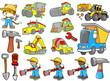 Cute Construction Vector Illustration Set