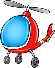 Cute Doodle Cartoon Helicopter Illustration