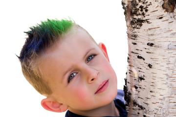 Young Boy Hugging Birch Tree