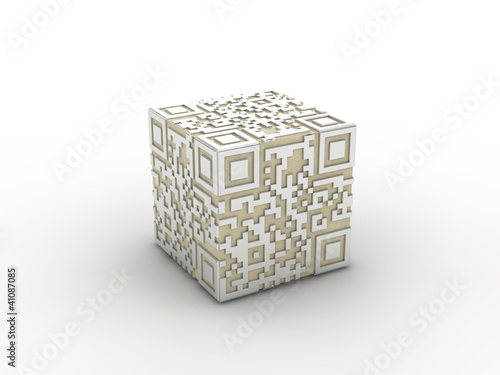 3d rendered concept of a qr-code.