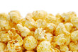 The heap of popcorn isolated on white background
