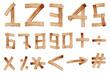 Old Grunge Wooden Alphabet Number, vector set
