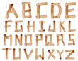 Old Grunge Wooden Alphabet, vector set