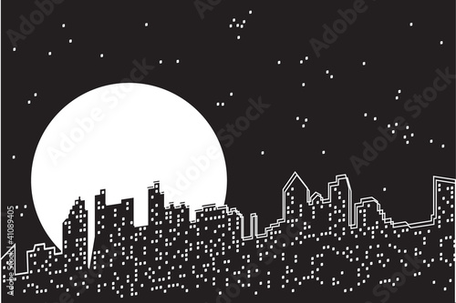 City moon night