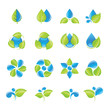 Water and leaves icon set