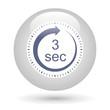 Leinwandbild Motiv Bouton icône minuterie - 3 secondes