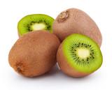 Ripe kiwi fruits with halves