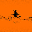 Halloween Flying Witch & Pumpkins Background