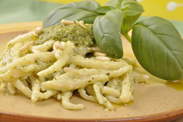 trofie with pesto sauce