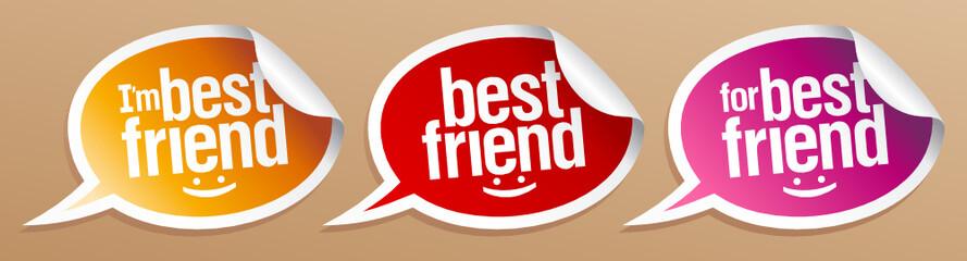 I`m best friend stickers in form of speech bubbles