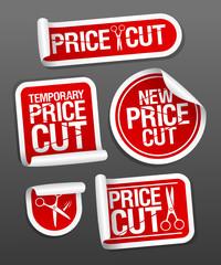 Price cut sale stickers