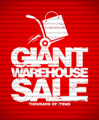 Giant warehouse sale design template with hand truck