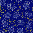 Cute Sheep Silhouettes at Night Seamless Pattern