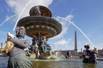 Paris - place de la Concorde - obélisque et fontaine