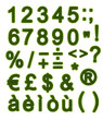 Green alphabet - Numbers and Symbols