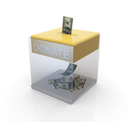 Transparent donation box