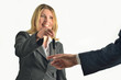 Businesswoman giving keys to businessman