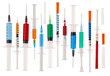 Many multicolor syringes isolated on white