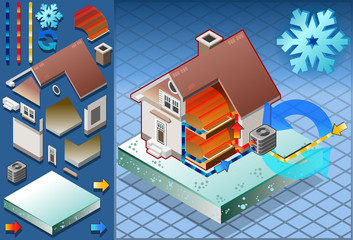 Isometric house with conditioner in heat productio