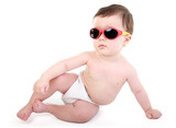 Cool dude - baby relaxing wearing sunglasses